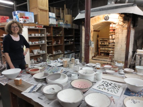 Half loaded kiln with Valerie Metcalfe